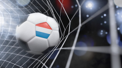 Realistic soccer ball in the net with the flag of Luxembourg.(series)