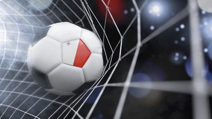 Realistic soccer ball in the net with the flag of Malta.(series)