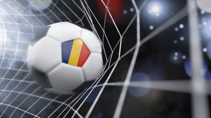 Realistic soccer ball in the net with the flag of Romania.(series)