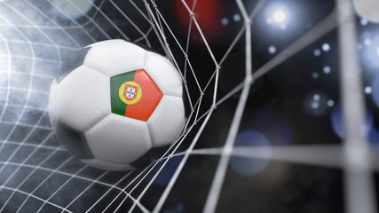 Realistic soccer ball in the net with the flag of Portugal.(series)