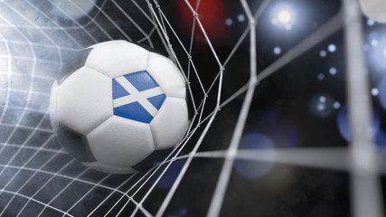 Realistic soccer ball in the net with the flag of Scotland.(series)