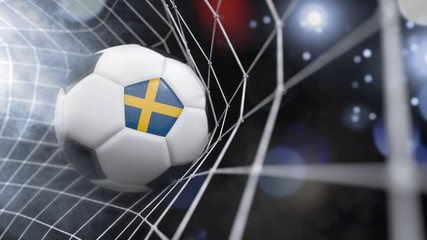 Realistic soccer ball in the net with the flag of Sweden.(series)