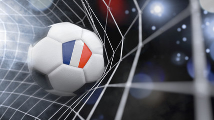 Realistic soccer ball in the net with the flag of New Caledonia.(series)