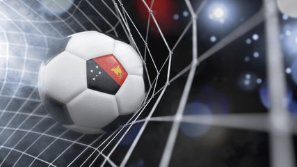 Realistic soccer ball in the net with the flag of Papua New Guinea.(series)