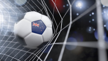 Realistic soccer ball in the net with the flag of New Zealand.(series)
