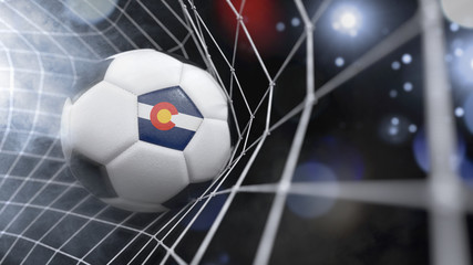 Realistic soccer ball in the net with the flag of Colorado.(series)