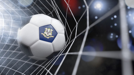 Realistic soccer ball in the net with the flag of Connecticut.(series)