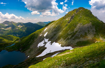 Saua Caprei peak of Fagarasan mountains. gorgeous summer landscape of Southern Carpathians in Romania