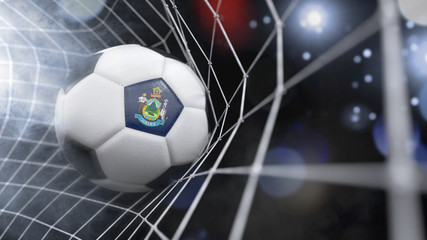 Realistic soccer ball in the net with the flag of Maine.(series)