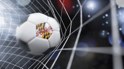 Realistic soccer ball in the net with the flag of Maryland.(series)