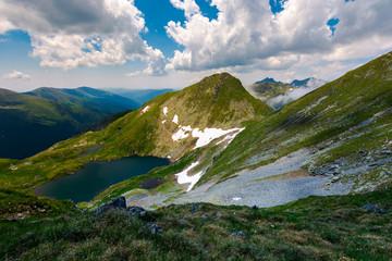 Saua Caprei peak of Fagarasan mountains. gorgeous summer landscape of Southern Carpathians in Romania