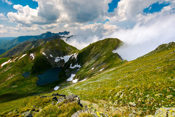 lake Capra view from Saua Vaiuga. beautiful summer landscape of Fagarasan mountains, Romania