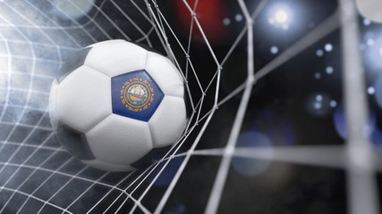Realistic soccer ball in the net with the flag of New Hampshire.(series)
