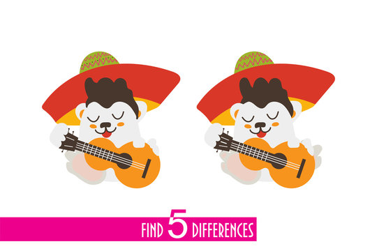 Find five differences vector illustration for kids: funny mexican character playing guitar. Great also for Cinco de Mayo materials.