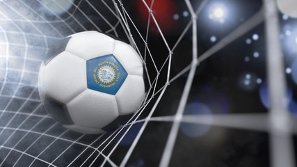 Realistic soccer ball in the net with the flag of South Dakota.(series)