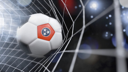 Realistic soccer ball in the net with the flag of Tennessee.(series)