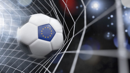 Realistic soccer ball in the net with the flag of Europe.(series)