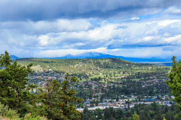 North America, United States, Oregon, Central Oregon, Redmond, Bend, View from Pilot Butte State Park. Mt. Bachelor.