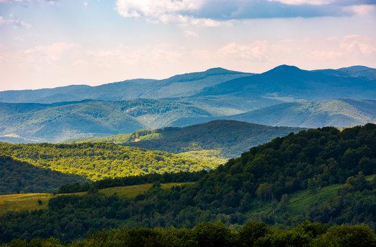 beautiful rolling hills of Carpathian mountains. lovely summer landscape, bird eye view