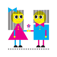 Happy couple. Funny people from geometric shapes. Kids