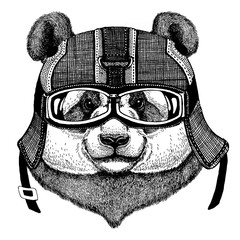 Panda, bamboo bear Hipster animal wearing motorycle helmet. Image for kindergarten children clothing, kids. T-shirt, tattoo, emblem, badge, logo, patch