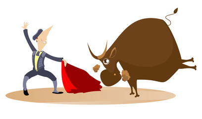 Cartoon bullfighter and the bull illustration. Brave cartoon bullfighter with a cloak of the matador and angry bull illustration
