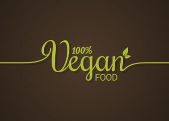 Vegan lettering logo. Green food line concept on ground background