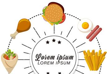 Fast Food Badge Set