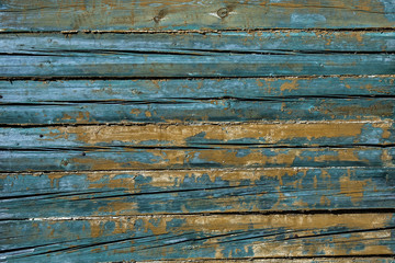 Blue painted aged cracked wood texture, retro surface backdrop. Horizontal lines of wooden boards background.