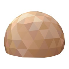 Geodesic dome painted in the colors of the Martian desert. Vector illustration.
