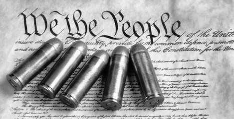 We the People. with bullets and in black and white.