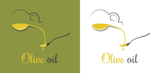 Olive oil drop. Pouring oil on spoon design background