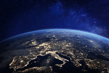 Europe at night from space, city lights, elements from NASA Wall mural