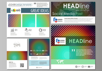 Social media posts set. Business templates. Abstract flat template, vector layouts in popular formats. Minimalistic design with circles, diagonal lines. Geometric shapes, beautiful retro background.