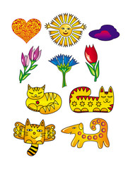 Sun, flowers, cats, hearts,  and a dog. Cartoon drawings. Artistic funny background. Vector graphics
