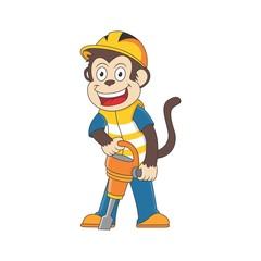cartoon monkey is using a drill