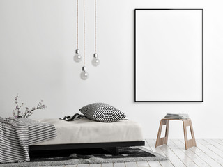 Mock up poster, Scandinavian style, sofa, chair and lamp, 3d render, 3d illustration