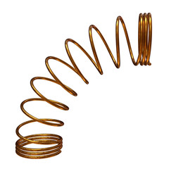 Gold spring or machine shock absorber. 3d render isolated on white background