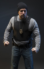Police officer on dark background ready to fight.