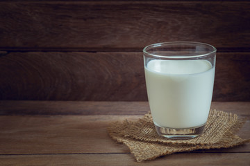 Glass of milk on wooden background.