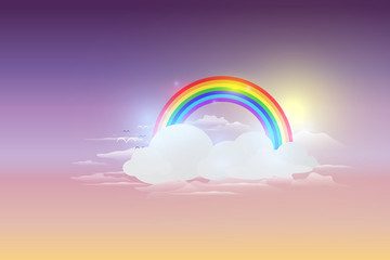 Rainbow cloud and blue sky background vector illustration