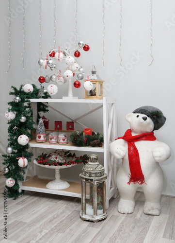 beautiful christmas stage with red and white decorations