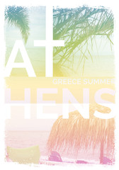 Athens Greece summer graphic poster tee design