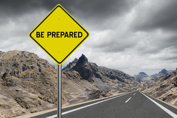 Be Prepared highway sign on storm cloud background