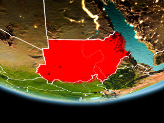 Sudan in red in the evening