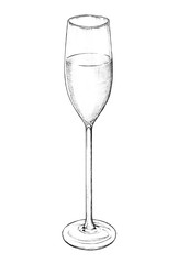 Hand drawn champagne glass