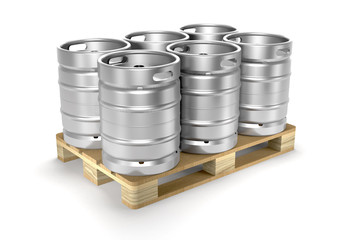 Aluminium beer kegs on a storage pallet (3d illustration).