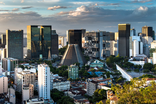 Rio de Janeiro City Downtown View by Sunset