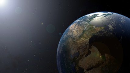 Earth on Space with Sun light and Star,Planet galaxy with copy space,Elements of this image furnished by NASA.