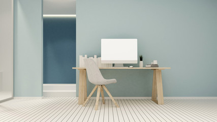 Workplace and empty space on blue tone in condominium or small office - Study room white tone artwork for apartment or home office - 3D Rendering